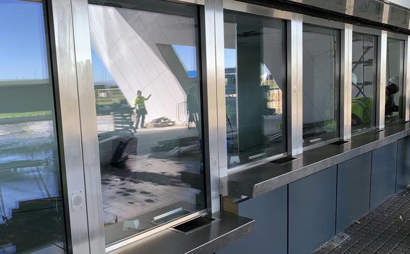 Bank bulletproof glass